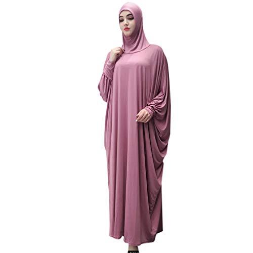Lazzboy Muslim Frauen Kopfbedeckungen Moschee Fledermaus ärmel Strickjacke Ramadan Ethnische Roben Damen Sommer Muslimische Kleider Spitze Getrimmt Vorne Abaya Maxi Kaftan(Wassermelonenrot)