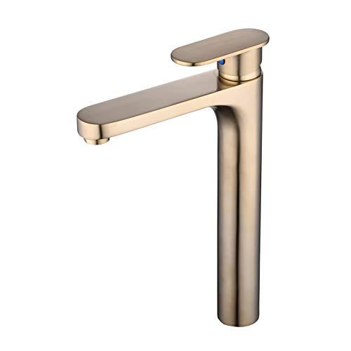 Grifo de Lavabo Baño monomando para lavabo Cuerpo alto, Grifos para lavamanos Grifo monobloque con palanca única, Cepillo dorado, Beelee BL1842BGH