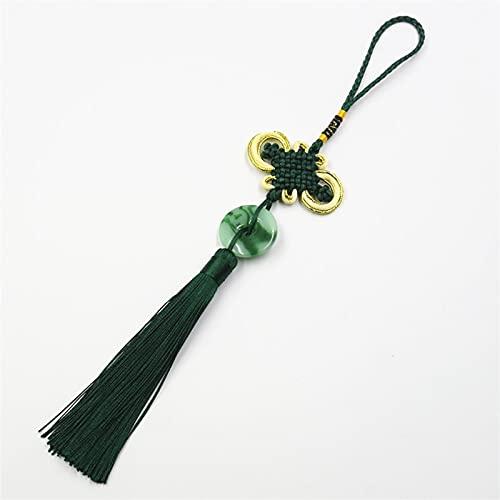 baidicheng Colgante de borla de nudo chino, 5 piezas de nudos chinos de jade, borlas de jade, accesorios decorativos para joyas, bolsa de llaves, colgante para manualidades (color: verde oscuro)