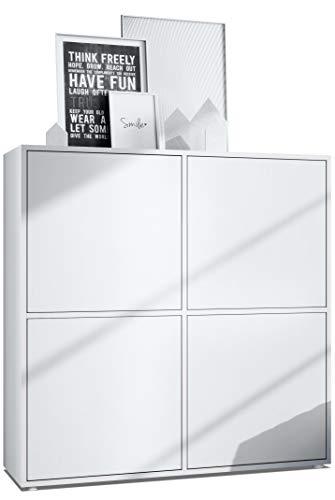Vladon Highboard Cuba V2 Schrank 104 x 105,5 x 35,5 cm Sideboard mit 8 Fächern, Korpus in Weiß matt/Fronten in Weiß matt
