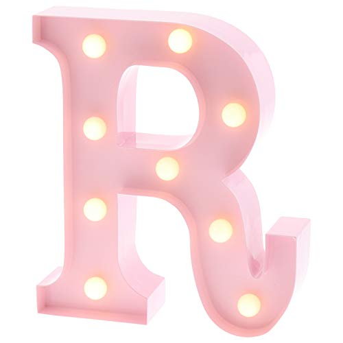 "Barnyard Designs Metal Marquee Letter R Light Up Wall Initial Nursery Letter, Home and Event Decoration 9"" (Baby Pink)"