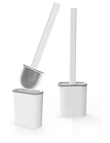 Aitsite Toilettenbürste, WC Bürste und Halter, Silikon Toilettenbürste Set, Schnell Trocknendem Haltersatz für Badezimmer und WC-Garnitur, Kann gestellt oder aufgehängt Werden (2 Stück)