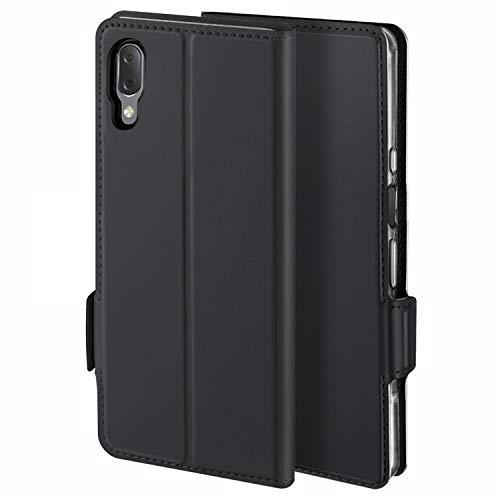 YATWIN Handyhülle für Sony Xperia L3 Hülle Premium Leder Flip Schutzhülle für Sony Xperia L3 Tasche, Schwarz