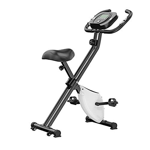 Bicicleta de Ejercicio,Lacyie Bicicleta estática Plegable con Pulsómetro sensores de pulso de mano, bicicleta de fitness, bicicleta de ejercicio con a 8 niveles de esfuerzo Fitness