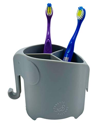 Canette Elephant Toothbrush Holder - Cute Organizer for Your Bathroom! Perfect Toothbrush Holder for Children, Helps Kids Love Brushing Teeth! (Grey)