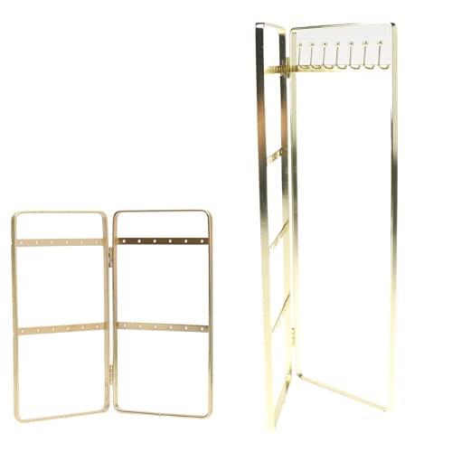 XIGAWAY Estante de exhibición de la joyería del panel doble que cuelga los pendientes del soporte
