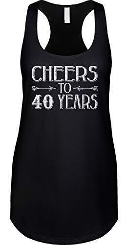 Blittzen Damen Racerback Tank Cheers to 40 Years – 40. Geburtstag - schwarz - XX-Large
