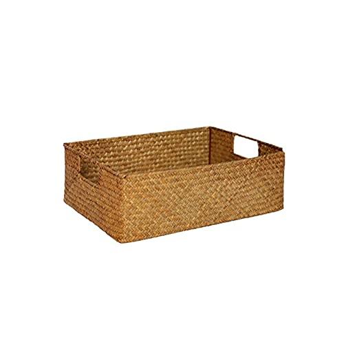 OMVOVSO Cesta de mimbre, cesta de almacenamiento con asas jacinto de agua trenzado estante cesta estante cesta de la naturaleza gabinete cesta cesta paja caja rectángulo, marrón, 37cm