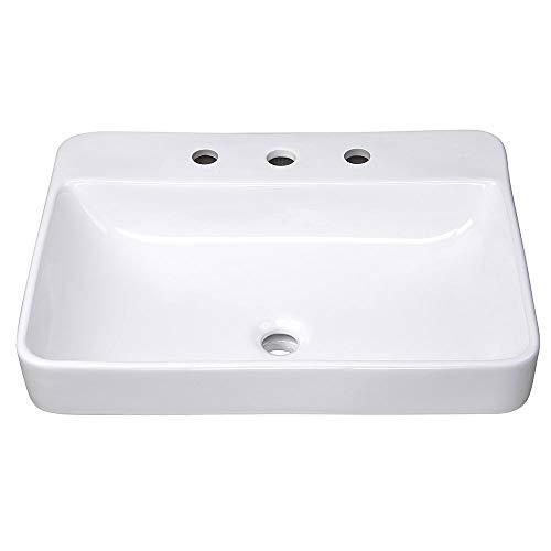 Best Deals! Aquaterior 23 Rectangle Drop in Bathroom Sink White Ceramic Above Counter Semi Recessed...