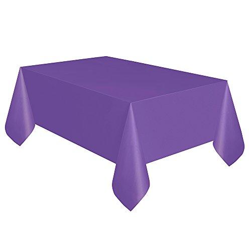 Unique 99163 Neon Purple Plastic Tablecloth, 108' x 54', 1Ct