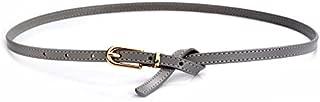 MYCHOMEUU New Ladies Thin Belt Leather Retro Knotted pin Buckle Thin Belt Fashion Dress Small Belt (Color : Grey)