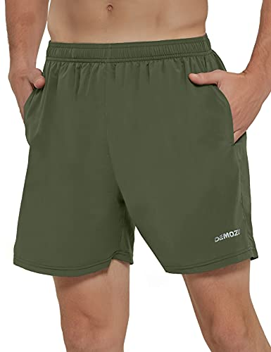 DEMOZU Men's Quick Dry Running Shorts 5 Inch Lightweight Workout Athletic Gym Tennis Shorts with Pockets, Army Green, M