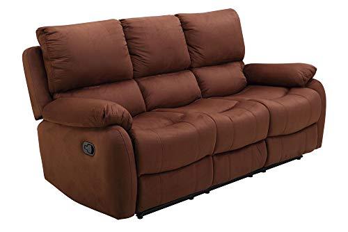 lifestyle4living 3Sitzer Sofa in braunem Microfaser mit praktischer Relaxfunktion, verstellbares Funktionssofa mit manueller Starthilfe zum relaxen und genießen