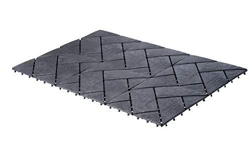UPP Outdoor Gartenplatten Klickfliesen 30 x 30 cm | Wetterfester Bodenbelag für Balkon, Garten & Terrasse | Einfach & Schnell verlegt [24 Stk, Schiefer]