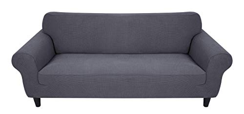 2 Seater Sofa Covers for Leather Sofa, Jacquard Sofa Covers, 2 Seater Sofa Grey with Elastic Bottom, Spandex Stretchy Grey Sofa Cover Suitable for 145-185cm Sofa (Dark Grey)