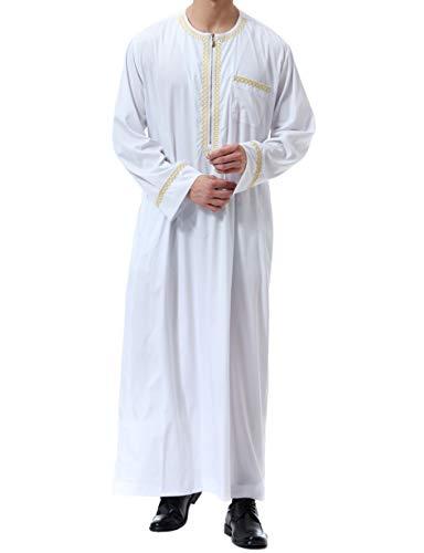 Qianliniuinc Muslimische Kleider Herren Islamische Maxikleid -Kaftan Abaya Männer Muslim Kleidung Langarm Lang Jalabiya (Weiß,XL)