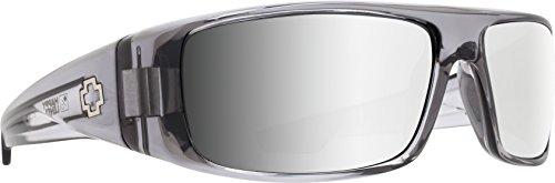 Spy Gafas de sol Logan para hombre, color gris claro ahumado, gris claro, con espejo plateado, 61