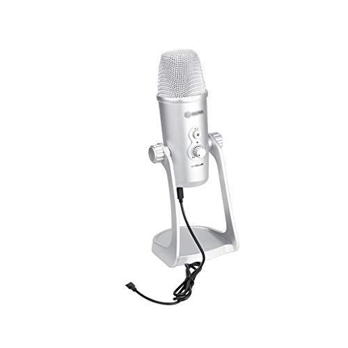 JJZXD Micrófono de Condensador de Triple cápsula para iPhone Android Smartphone Windows Mac Computadora portátil PC Entrevista en Vivo