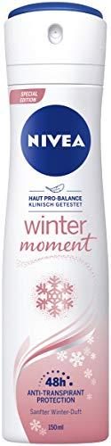NIVEA Winter Moment Deo Spray (150 ml), Antitranspirant mit winterlichem Duft und antibakteriellem Schutz, 48h Deodorant