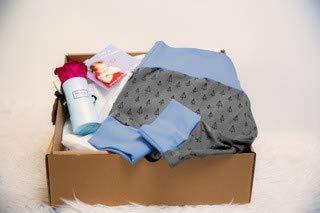 DE BAMBINI Geschenkidee zur Geburt eines Babys, Pumphose mit Grace Flowerbox (grau, 74)