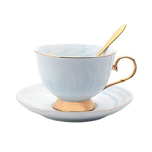 H HILABEE Juego de Tazas de Porcelana para Capuchino, Juego de Taza Y Platillo de Café Glaseado de Color con Cuchara, Vasos, Decoración de Boda 201-300ml - Azul, Individual