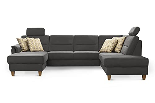 CAVADORE Wohnlandschaft Palera / Federkern-Sofa in U-Form mit 2 Kopfstützen / 314 x 89 x 212 / Mikrofaser, Grau