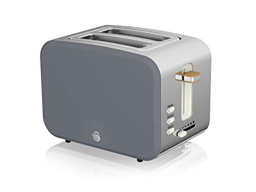 Swan Nordic Toaster Breitschlitz, 2 Scheiben, 3 Funktionen, 6 Bräunungsstufen, modernes Design, Edelstahl, Griff in Holzoptik, Schiefergrau