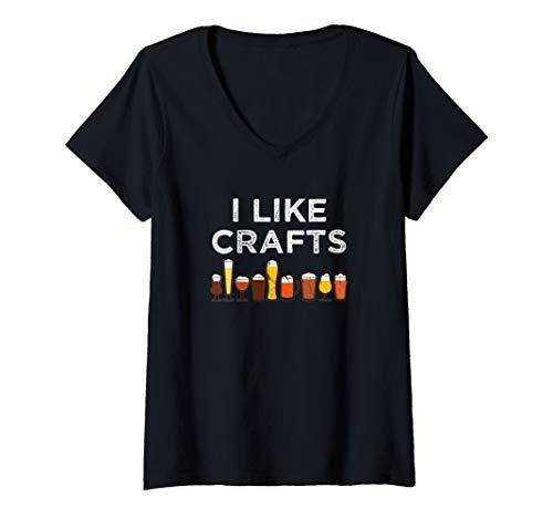 Damen Lustige Ich mag Handwerk für Bierliebhaber T-Shirt mit V-Ausschnitt