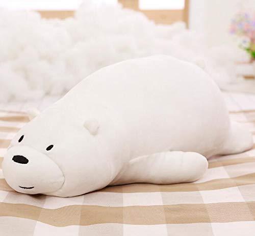 Mr Tree 1pc 50cm Cartoon We Bare Bears Lying Bear Stuffed Grizzly Gray White Bear Panda Plush Toys for Children Kawaii Dolls for Kids Gifts,19.7''