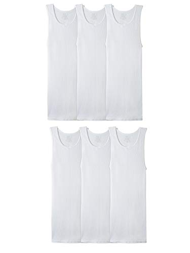 Fruit of the Loom Men's Tag-Free Tank A-Shirt, 6 Pack - White, Small
