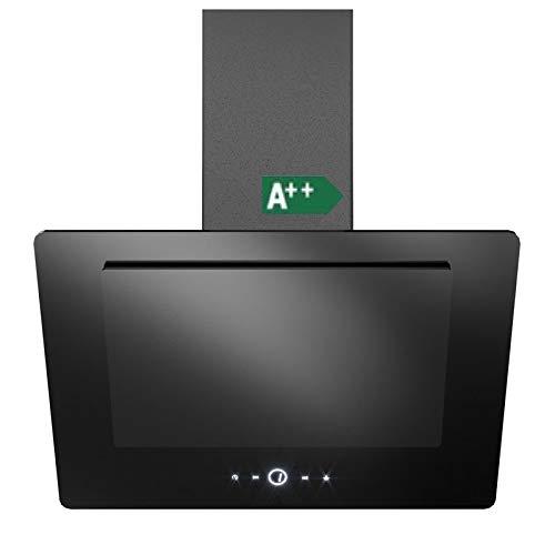 Vlano/NEO 600 BK/kopffreie Wand Dunstabzugshaube/EEK A++/ 60 cm/schwarz Glas / / 8 kWh/Jahr/Invisible Touch/ECO LED / 410 m³/h* / 47 dB (A) / Umluft (60 cm mit Umluftset)
