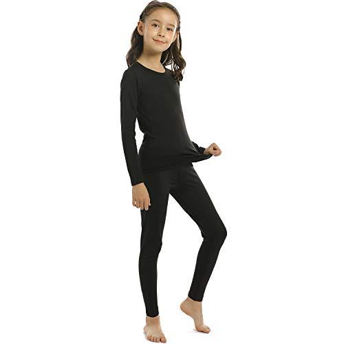 ViCherub Girl's Thermal Underwear Set Kids Long Johns Fleece Lined Base Layer Top & Bottom Thermals for Girl Black Large