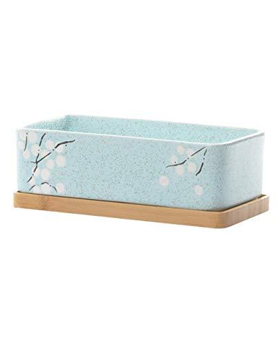 GardenBasix Keramik-Blumenkasten für Fensterbank, rechteckig, für Innen Sukkulenten, Tischdekoration 3.5''x7''x2'' Blue with Tray