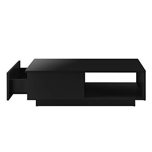 [en.casa] Couchtisch 95 x 55 x 31 cm mit Ablage und Schublade Wohnzimmertisch Kaffetisch Spanplatte Schwarz Hochglanz