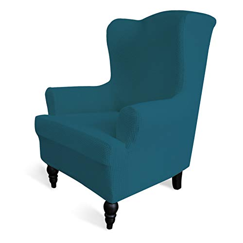 Easy-Going Stretch Wingback Chair Sofa Slipcover 1-Piece Sofa Cover Furniture Protector Couch Soft with Elastic Bottom Polyester Spandex Jacquard Fabric Small Checks(Wing Chair,Bluestone)