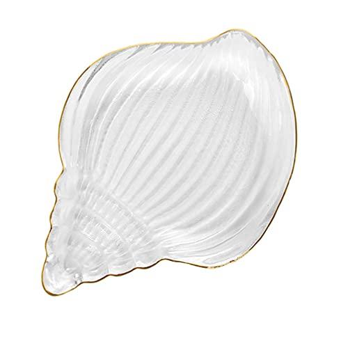 Toyvian Lastre di Vetro Shell Conchiglia Piatto di Forma Vassoio di Monili di Stoccaggio Piatto Condimento Piatto Piatto Spuntino Piatto di Salsa per Gioielli di Frutta Antipasto da