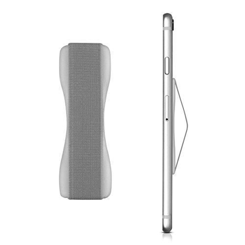 kwmobile Smartphone Fingerhalter Griff Halter - Selbstklebende Handy Fingerhalterung - Finger Halter für z. B. iPhone Samsung Sony Handys Silber