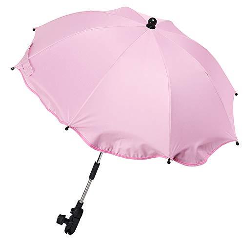 Pink Pram Parasol Universal Baby Buggy Sun Parasol Adjustable Stroller Umbrella Foldable Pushchair Umbrella with Umbrella Handle for Pram, Stroller, Pushchair and Buggy