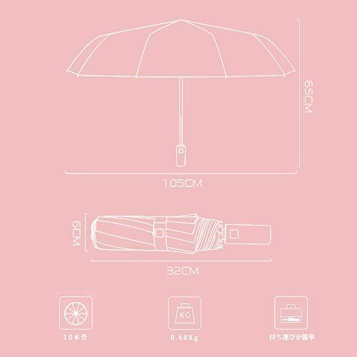 W.L折りたたみ傘メンズレディース10本骨自動開閉210Tグラスファイバー超耐風性UV耐性コーティング晴雨兼用雨季の新しい選択収納袋付き(ピンク)
