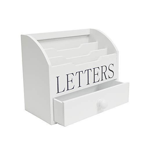 DRULINE Schreibtisch Organizer | Stiftehalter Holz | Schreibtischbox | Schubladen | Büro Stiftehalter | Holz | Box | Arbeit | Deko | Schreibtischbox | Schubladen | Briefbox | Letterbox | Briefablage | Briefe | Dokumente | 1026 | H2518395 | 52180085 | 20x17x10,5 cm | Weiß