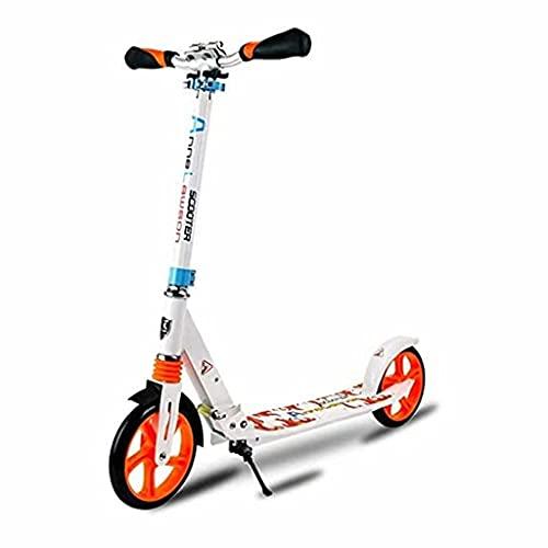 wunderschönen Faltbarer Erwachsener/Jugendlicher/Kinderroller, Roller mit großen Rädern, Einstellbarer Lenker, mit hinterer Kotflügelbremse (Farbe: schwarz) (Color : White)