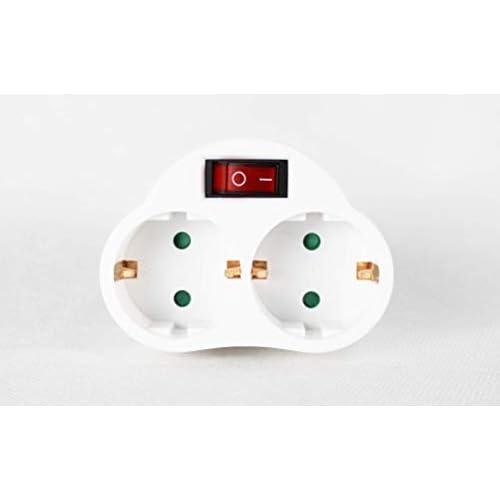Exta - Spina con interruttore Schuko connettore | 2strati di spina doppia bianca, connettore doppio verticale (1)