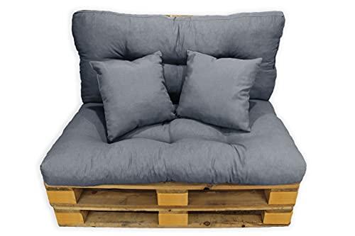 Conjunto 4 Piezas Sofá Palets, Asiento Palet 120x80 cm + Respaldo + Dos Cojines. Cómodo y Elegante para Interior y Exterior (Gris Oscuro)