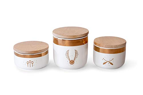 Ukonic Harry Potter Quidditch Ceramic Storage Jars 3-Pack  Food Storage for Cookies Candy Spice  Flour and Sugar Containers with Lids  Kitchen Canisters Set of 3