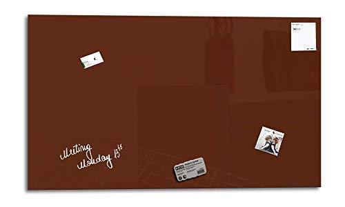 Smart Glass Board ® Pizarra de cristal magnética/Tablero de notas magnético en vidrio + 3 Imanes SuperDym + 1 Marcador, 90 x 45 cm, Castaño