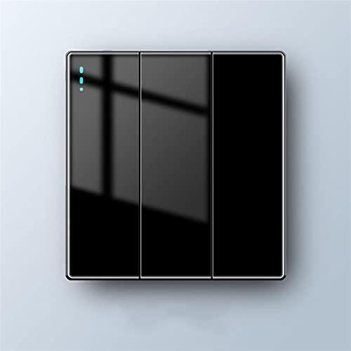 SYunxiang Interruptor de Pared Tipo 86, lámpara de Control Doble Individual para Sala de Estar, Interruptor de 1 a 4 vías, Interruptor basculante de Panel, Vidrio Negro
