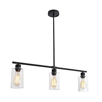LWYTJO 3-Light Vanity Light Fixture, Industrial Pendant Lighting , Linear Ceiling Chandelier, Hanging Ceiling Chandelier with Tempered Glass lampshade, for Kitchen Dining Room Bedroom Hallway