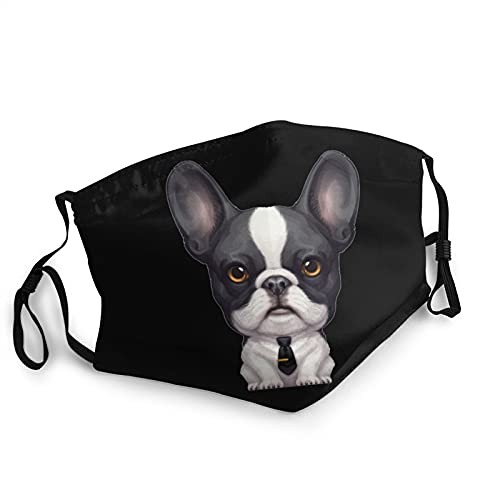 Brindle Pied French Bulldog Wearing A Tie Mask, Ripstop Protective Face Shield, Adjustable Mouth Cover Black