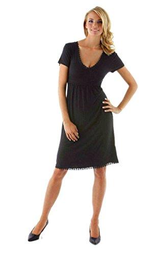Vivance Jersey-Kleid mit Spitze Wickel-Optik Schwarz Gr. 38