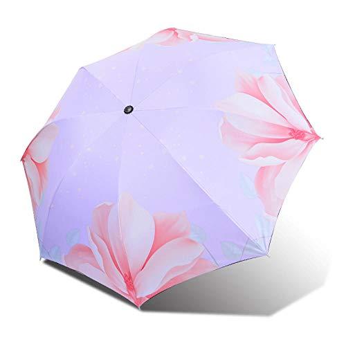 ZXCN Regenschirm Kompakter Reise Taschenschirm Frischer Doppelschichtiger Vinyl-Sonnenschirm mit Windfester Konstruktion Stabil und Leicht (Begonienblume) Lila